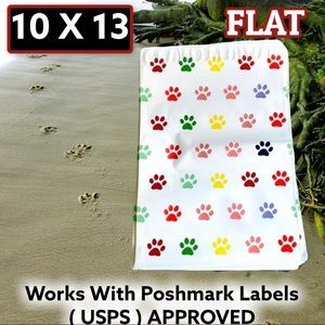 50 10X13 Paw Print Poly Mailers Pets Dog Cat